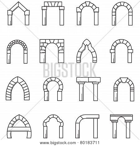 Black line icons vector collection of arches