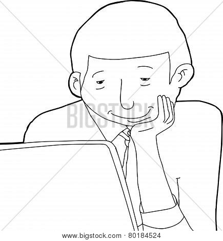 Outline Of Smiling Man Looking at Laptop