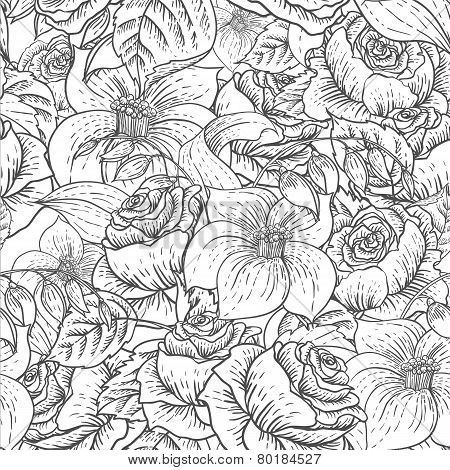 Seamless Monochrome Floral Pattern with Roses