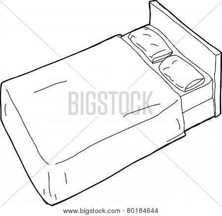 Outlined Bed Illustration