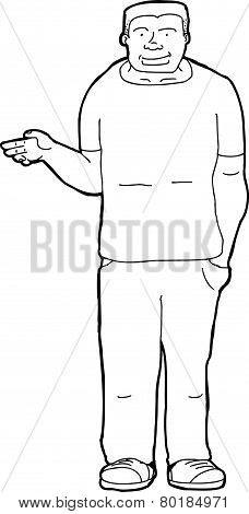 Outline Of Man Holding Nothing