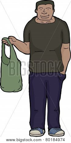 Man With Cloth Shopping Bag