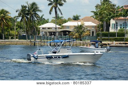 Fort Lauderdale Police Boat On Patrol