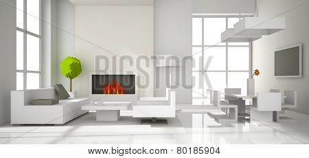 Fictitious interior of paper 3D rendering