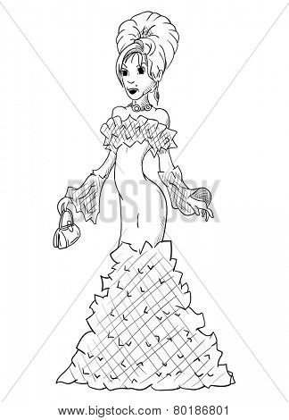 vector - Young Beautiful Woman -party dress - isolated on background