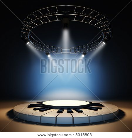 A 3d illustration of blank template layout of empty jazz music stage. Stage illuminated by spotlights at blue background. Stage empty to place your text, logo or object.