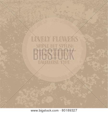 Simple vintage card with flower background
