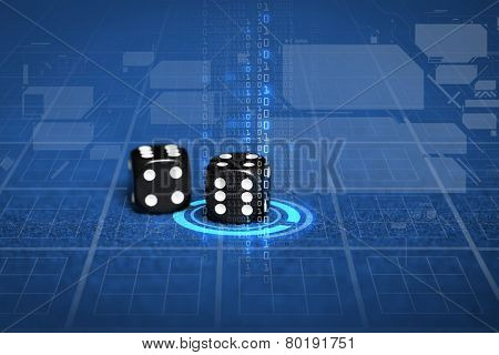 gambling, fortune, game, technology and entertainment concept - close up of black dice on blue casino table and virtual projection