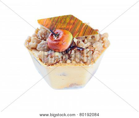 Apple Caramel Dessert In A Bowl, Isolated On White Background