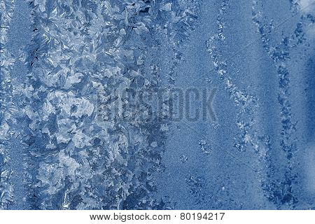 Frosty Glass With A Silvery Blue Pattern