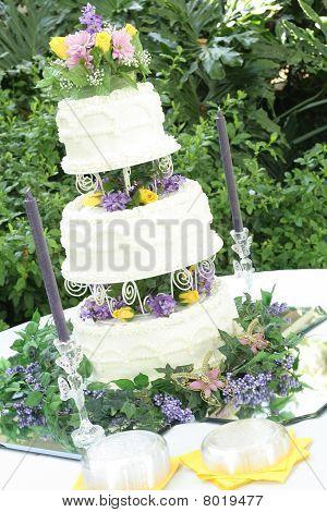 gorgeous three tier wedding cake angle