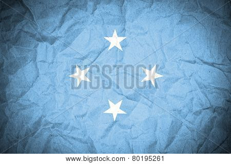 Micronesia Flag on grunge paper