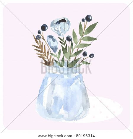 Hand drawn watercolor bouquet in the bank. Blue tender flower and green brunch.