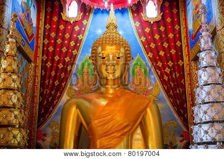 golden buddha statue in temple of Thailand. This statue is public in thailand.