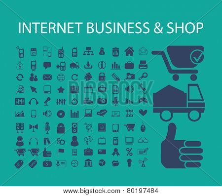 internet business, shop, ecommerce icons, signs, illustrations on background, vector set