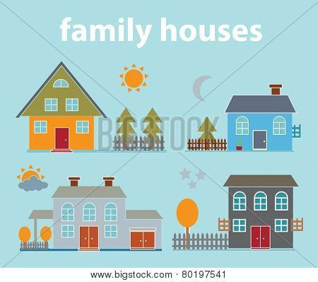 family houses, buildings, yards icons, signs, illustrations on background, vector set