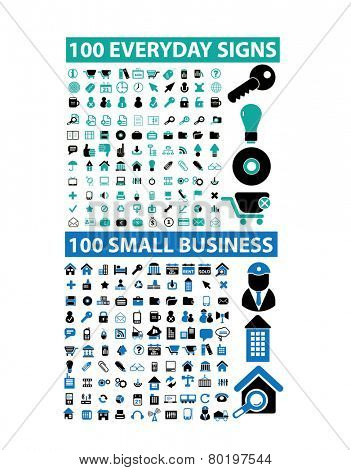 200 small business, web, media, internet icons, signs, illustrations on background, vector set