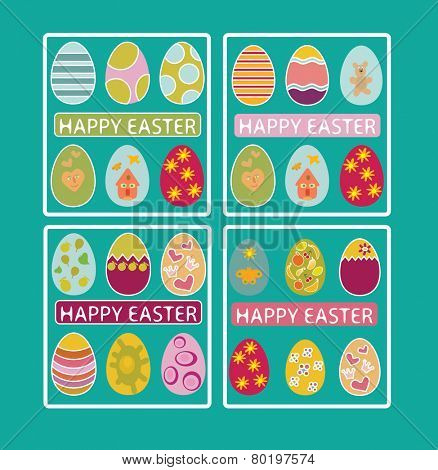 happy easter cards, banner, eggs, icons, signs, illustrations on background, vector set