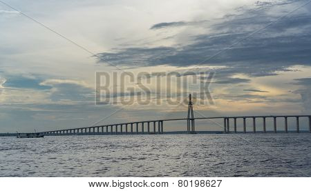 The Manaus Iranduba Bridge at sunset