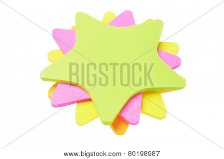 Stack Of Colorful Star Shape Paper Stickers On White Background