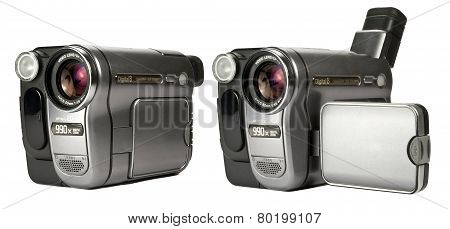 Digital Camcorders Isolated On A White