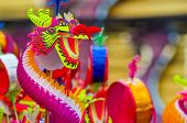 picture of dragon head  - Colorful chinese dragon toy in chinatown - JPG