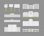 stock photo of wooden fence  - Set of white fence with grass and gates and wooden boards on a gray background - JPG