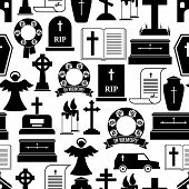 picture of hearse  - RIP and funeral background pattern - JPG