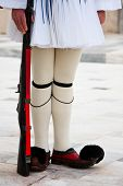 stock photo of evzon  - Evzones standing guard in front of the Parliament in Athens - JPG