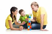 picture of brick block  - kid boy with his parents playing building blocks - JPG