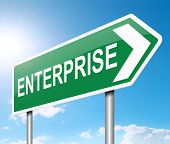 picture of enterprise  - Illustration depicting a sign with an enterprise concept - JPG