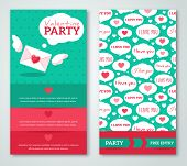 stock photo of romantic love  - Beautiful greeting or invitation cards with speech bubbles pattern - JPG