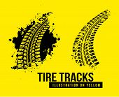 image of skid  - Tire track vector background on yellow background - JPG