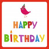 pic of birthday hat  - Greeting card with text Happy Birthday and cute bird in holiday hat - JPG