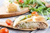 pic of peas  - pie of puff pastry with tuna rice egg and peas - JPG
