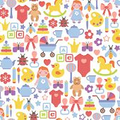 pic of baby doll  - seamless pattern with baby icons - JPG