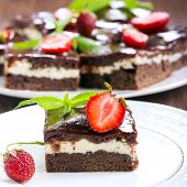 stock photo of chocolate fudge  - Chocolate fudge brownies with soft cheese filling square image - JPG