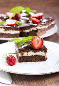 foto of chocolate fudge  - Chocolate fudge brownies with soft cheese filling - JPG