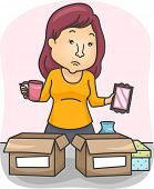 pic of memento  - Illustration of a Woman Sorting Her Belongings and Placing Them in Boxes - JPG