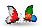 foto of eritrea  - Two butterflies with flags on wings as symbol of relations Bahrain and Eritrea - JPG