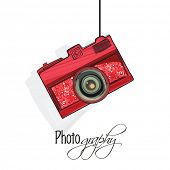 picture of megapixel  - Stylish floral design decorated camera hanging on white background for photography - JPG