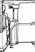 foto of bus driver  - Outline sketch of bus driver from rear view - JPG