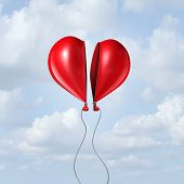 pic of helium  - Balloon heart coming together as a valentine symbol and I love you concept with two halves of a divided helium red bubble floating in the sky creating a romantic union - JPG