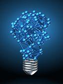 foto of plexus  - lamp bulb composed by metallic nerve plexus model on dark background - JPG