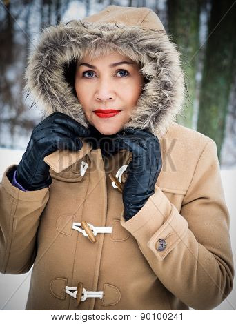 Asian Model Wearing Fur Trimmed Coat