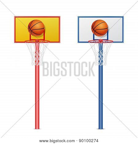 Basketball Hoop With A Ball. Vector Set.