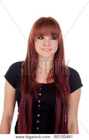 Teenage girl dressed in black with a piercing looking up isolated on white background