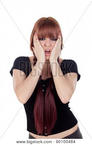 Surprised teenage girl dressed in black with a piercing isolated on white background