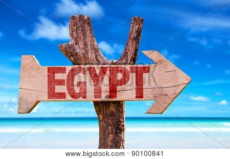 Egypt wooden sign with ocean background