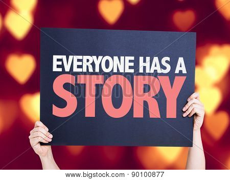Everyone Has a Story card with heart bokeh background
